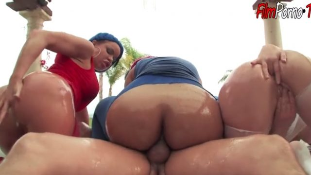 Anal Orgy with three horny big booty bitches