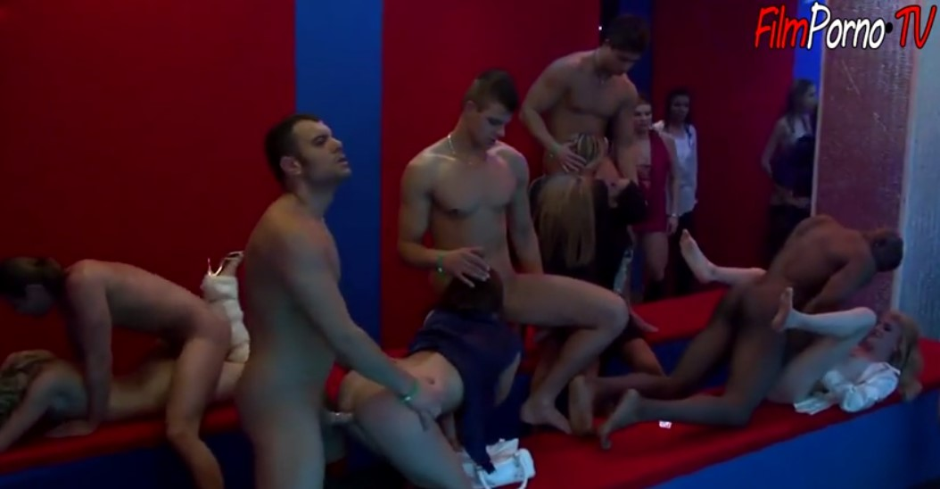 Horny customer in the stripping club fucks strippers girls