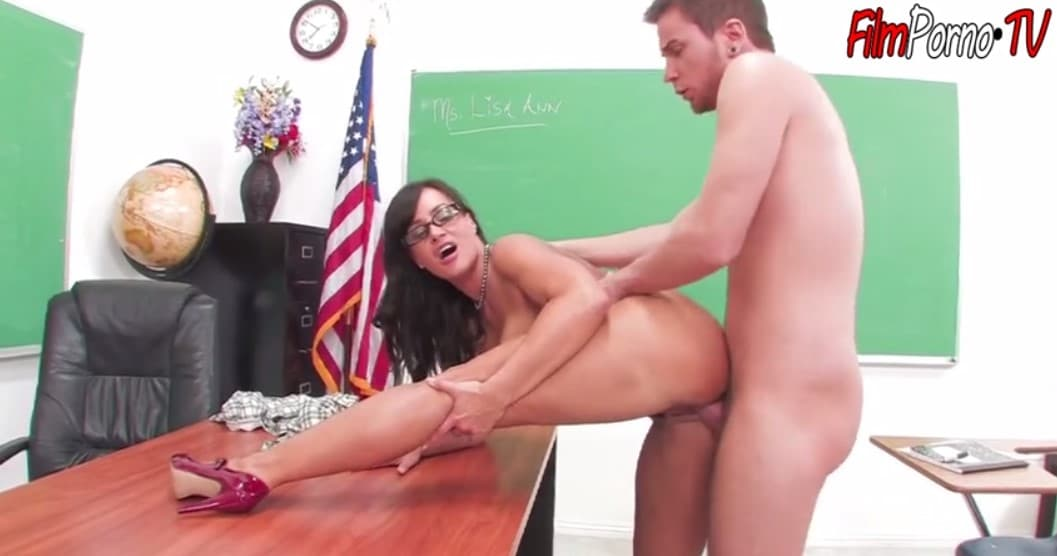 Brunette mature teacher Lisa Ann fucks young white student fat cock