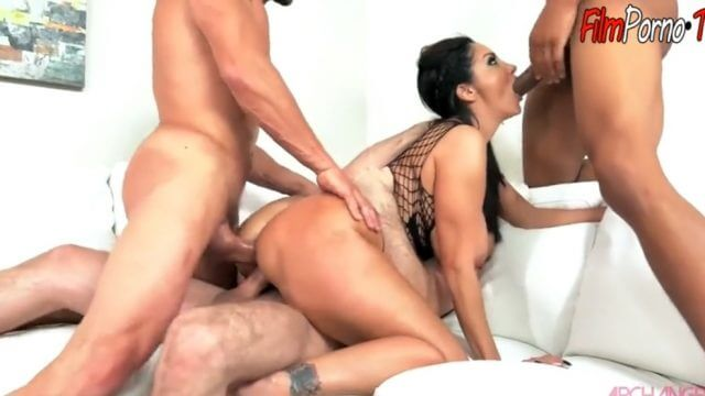 Busty brunette bitch Ava Addams Three guy all holed hard fucked