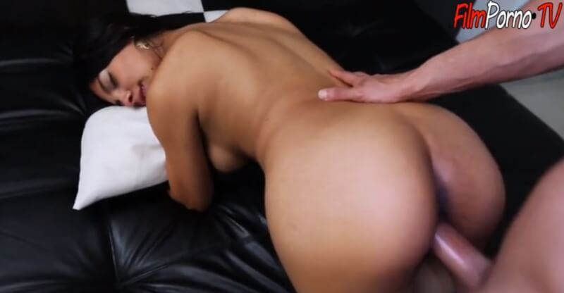 Cute brunette Valeria Marin doggy style fucked hard pussy by big fat dick boyfriend