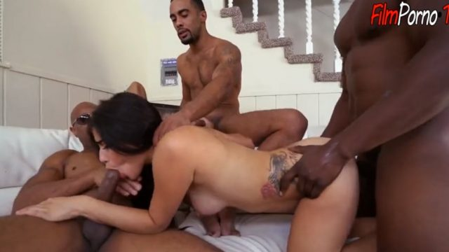 Three huge black guy with little brunette girl very hard gangbang