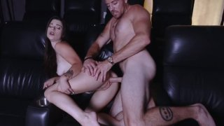 Sweet brunette bitch Lacy Channing hard fucking with adult big dick man