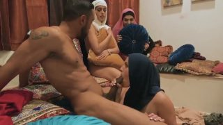 Three arabian bitch & one big arabian dick foursome orgy