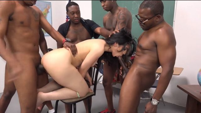 Slut arab teacher Nadia Ali and 5 giant black student