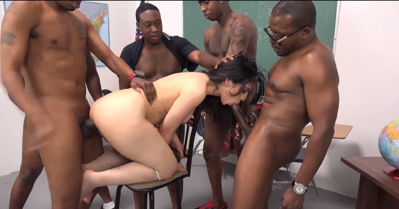 Slut arab teacher Nadia Ali and 5 giant black student