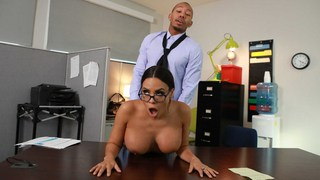 huge boobs secretary Luna Star with big black cock hard anal
