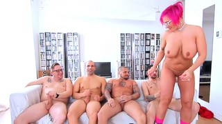 Chubby Chick Pink mature takes on four Canadian cock