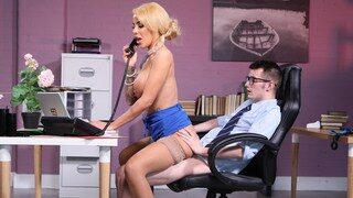 Sexy blonde milf Alice Judge cock riding office boy